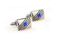 french cuff shirt - Black Stripe Sapphire Cufflinks Fashion Noble Square Alloy High Quality Cuff Links for Men Shirt Wedding French Cool Gift Cufflinks