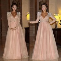 Wholesale 2016 Myriam Fares Prom Dresses Long Sleeve Beads V Neck Sash A Line Party Dress Crystal Floor Length Tulle Evening Dresses