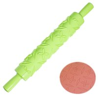 Wholesale Rolling Pin Fondant Ribbon Stripe Dough Paste Flower Leaf Embossing Decor Cake Roller Kitchen Baking Tool