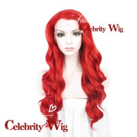Wholesale Halloween Special Extra Long Wavy Red Beauty Sexy Synthetic Lace Front Wig Party Wig Cosplay Wig N7