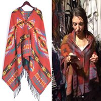 Wholesale Capes Shawls Ponchos For Women - Bohemian Cape Poncho Shawl Scarf Tribal Hoodies Ethnic Warm Cardigans For Women 2015 new wool blanket cape shawl AL S214