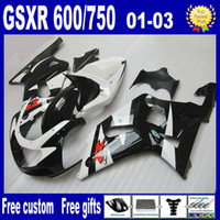 Wholesale Black white bodywork kit FOR SUZUKI GSXR fairings K1 GSXR600 GSXR750 fairing kits
