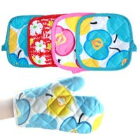 Wholesale Cooking Tools Oven Gloves Home Essential Printed Microwave Anti scald Insulation Thicken Pic Set Kitchen Glove ZCF046