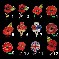 Wholesale Britain Memorial rhinestone brooch Large Red Poppy Flower Brooch Diamante Brooch collectionpins Crystal Rhinestone CZ brooch