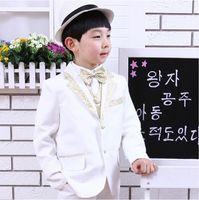 Wholesale Kid Notch Collar Children Wedding Suit Boys Attire Jacket Pants Tie Shirt Strap Socks