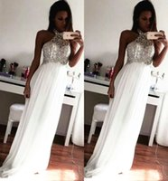 Wholesale Cheap Prom Dresses Crystal Beading Formal Evening Gowns Sheath Halter Neck Sleeveless Floor Length Chiffon Cheap Plus Size Formal
