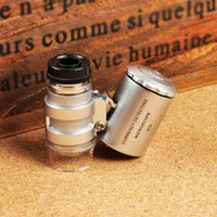 Wholesale 60X Mini Loupe Pocket Microscope Jewelry Magnifier LED UV Lamp Hot Sell HW9882 order lt no tracking
