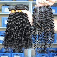 Wholesale Eurasian Kinky Curly Human Hair Bundles With Closure Hair Extensions Top Lace Closure x4inch Natural Color Human Hair Weave Dyable