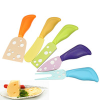 Wholesale 1Set Colorful Plastic Handle Cheese Butter Fork Spreader Stainless Steel Knives Cutter Kitchen Cooking Tools Random Colors