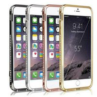 Wholesale Crystal Diamond Bling Metal Cell Phone Bumper Case Cover For iPhone Plus quot quot S S G Galaxy s3 s4 s5 note DHL Free