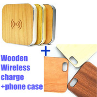 iphone 5 charger case - Natural Wood Wooden wireless Cases Anti scratches Genuine Bamboo Phone Back Skin Covers For Iphone s s plus with Qi Wireless Charger