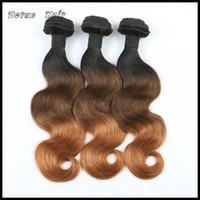 Extensiones del pelo de Ombre tres tonos 1B / 4/30 6A Ombre brasileño peruano indio malasio Onda Wave Virgen Remy Humanos Weave Bundles