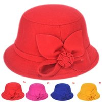 Cheap Children Girl Floral Wool Fedoras Bowler Hats Solid Color Girls Bucket Caps Fashion Hat for Girls 1pc Free Shipping MZD-1451