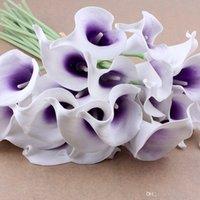 Букет цветов Calla Lily Свадебный букет для свадьбы Latex Real Touch Flower Bouquets (20pcs (Белый цветок + фиолетовый сердечник) шелковые свадебные цветы