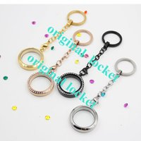 Cheap NEWER COMING! 316L stainless steel Wholesale silver Crystal led 25mm floating living glass locket keychains(without locket)