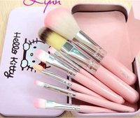 Wholesale 7Pcs Set Hello kitty Make Up Cosmetic Brush Kit Makeup Brushes Pink iron Case Toiletry beauty appliances hello Kitty makeup brush set DHL