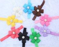 ribbon flowers - 30pcs color Baby Girls Diamond Rhinestone inch Flowers Headbands Headwear Kids Hair Accessories Baby Ribbon Hair Bands Christmas Gift