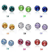 Wholesale Top Grade Silver Stud Earrings Hot Sale Fashion Stainless Steel Crystal Earring for Women Girl Jewelry LDE