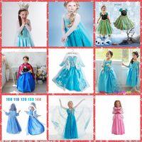 Cheap Whole Sale Princess Clothes Frozen Elsa Princess Dress Elsa & Anna Dresses Costume Snow White Princess Cosplay Kids Party Gowns Cheap Online