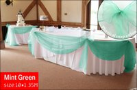 Wholesale 10 M x M Mint Green Top Table Swags Sheer Organza Fabric Wedding Party Bow Decor
