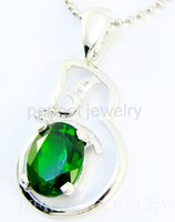 Wholesale Natural diopside pendant Real original diopside jewelry sterling silver Fine green gemstone Perfect jewerly DH