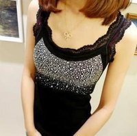 Wholesale Hot Sale Black White Grey Rhinestone Design women ladies vest top Sleeveless Summer sexy T Shirts Tank Tops