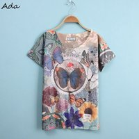 aa j - Ada large butterfly Fashion Character The single side printed T Shirt Women Summer Short Sleeve T Shirts AA J