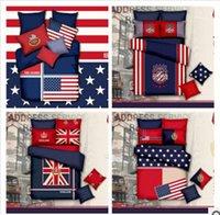 Cheap 3pcs 4pcs bedding set 100% cotton American personality simple rustic European style cotton plaid stripes flag denim linen quilt