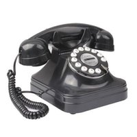 cordless phone - Retro Style Antique Telephone Landline Wired Table Cordless Telephone for Home Office Black