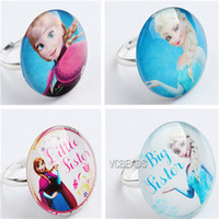 kids rings - New Kids Frozen Ring Cartoon Rings for finger Frozen Elsa and Anna Flatback Glass Dome Rings Baby Grils Decoration Frozen Prop