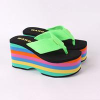 beach dogs - Rocket Dog Rainbow cm Thick Bottom Sponge female beach slippers shoe pinches summer antiskid wedge sandals