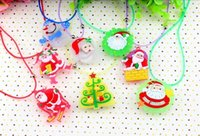 Wholesale LED Glow Necklace Flash Santa Claus Snowman LED Light GLOW Necklace Pendant For Kids Christma Toys Gift mixed order