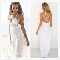 Wholesale FG1511 Women Ladies Boho Sleeveless Long Summer Maxi Lace Evening Party Beach Dress