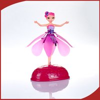 Wholesale Flying Barbie Fairy Toys Controlled Infrared Induction Balance Aircraft Electronic toys Fairy Flying Sunbeam Fairy Mick Flower w Pink