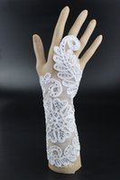 asian evening gowns - 2015 New Vinatge diamond Crystal white bridal Jewelry Long lace Bracelet with ring hot women Bracelets for party evening Wedding dress gown