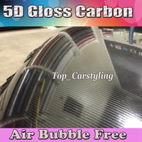 Wholesale Relistic Gloss D Carbon Fiber Vinyl Wrap Super Glossy D Carbon Wraps like real Carbon styling foil with Air Bubble Free Size M Roll