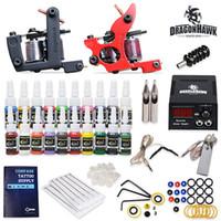 tattoo gun machine - Professional Complete Tattoo Kits Tattoo Guns Machines Color Ink Set Needles Power Supply Tattoo Supplies HW GD