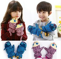 Wholesale Creative Baby Boys Girls Winter Mittens Gloves Leopard Claw Mitts Gift Children Kids Crochet Cartton Warmth Accessorie Blue Pink K2039