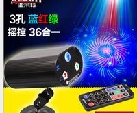 Wholesale Mini remote control holes Figure one new LED red blue and green laser stage lights Voice KTV disco lights