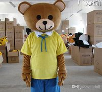 Wholesale welcome to Yellow Teddy Bear Mascot Animal Costumes Cartoon Mascot Halloween Customized Mascot Outfit Adult Fancy Dress