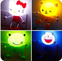 Wholesale 2016 pc MOQ led cute night light EU US plug hello kitty Doraemon Despicable Me Minions rilakkuma keroppi panda lamp baby Christmas