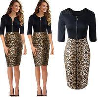 achat en gros de léopard zipper-Décontracté 2015 moulante Crayon Zipper Vêtements Femmes Sexy Leopard Imprimer manches demi Celebrity femmes robe Cintrées Robes dk3003mx