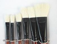 beginner watercolor - set flat paint brushes wool hair for oil acrylic shading gouache watercolor painting DIY artist school beginner
