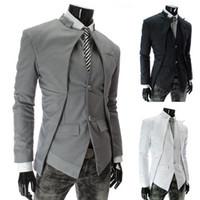 Wholesale 2015 New Brand British Style Slim Men Suits Mens Stylish Design Blazer Casual Business Fashion Jacket Black Grey White