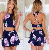 Wholesale womens piece shorts suit sets New Arrival vintage Women flower Print backless Crop Top Shorts Twinset pieces Set outfits for ladies