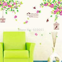 Acheter Mode décor de mur d'art-Vintage AY1916 Fashion Style Accueil Art Décor Fleur Arbre Stickers Salon Stickers amovible Direction cage à oiseaux