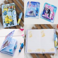 Wholesale Notes Minions journal Notepads Office School Frozen Stationery Sets kids standard pencils Ballpoint pen Notepad Notebooks Party Gifts