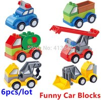 big engineering - Retail Kinds of Cars Blocks Toys Big Building Bricks Engineering Fire Rescue Police Car Series Compatible with Duplo Baby Toys