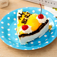 Wholesale 10 Inches Dots Lovely Paper Plates Candy Color Party Cake Dessert Holder Valentine Birthday Wedding Nursery Tableware