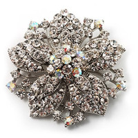 ab china - 2 Inch Hot Selling Rhodium Silver Plated with Clear and AB Crystal Rhinestone Starfish Brooches and Pins
